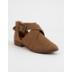 QUPID Tuxedo Buckle Brown Womens Booties