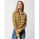 FULL TILT Stripe Zip Front Mustard Womens Polo Shirt