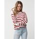 FULL TILT Stripe Zip Front Ivory Womens Polo Shirt
