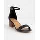 CITY CLASSIFIED Ankle Strap Stacked Black Womens Heeled Sandals