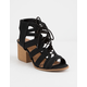 QUPID Lace Up Black Womens Heeled Sandals