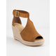CITY CLASSIFIED Perforated Tan Womens Espadrille Wedges