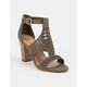DELICIOUS Runway Olive Womens Heeled Sandals