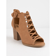SODA Aran Tan Womens Peep Toe Booties