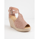 CITY CLASSIFIED Perforated Mauve Womens Espadrille Wedges