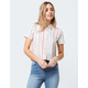 SKY AND SPARROW Stripe Tan Womens Crop Camp Shirt