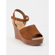CITY CLASSIFIED Supply Cognac Womens Wedges