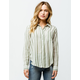 SKY AND SPARROW Wide Stripe Button Front Womens Top