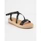 BAMBOO Strap Black Womens Espadrille Flatform Sandals