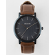 NIXON Porter Leather Blue & Brown Watch