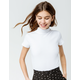 SKY AND SPARROW Solid Turtleneck White Womens Tee