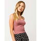 DESTINED Basic Ribbed Mauve Womens Crop Tank Top