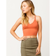 DESTINED Ribbed Cross Back Rust Womens Crop Tank Top