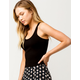 DESTINED Basic Ribbed Black Womens Crop Tank Top