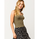 DESTINED Basic Ribbed Olive Womens Crop Tank Top