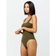 SKY AND SPARROW Ribbed Square Neck Olive Womens Bodysuit