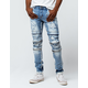 CRYSP DENIM Francesco Biker Blue Mens Ripped Skinny Jeans
