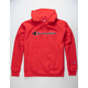 CHAMPION Reverse Weave Chain Stitch Script Logo Team Red Scarlet Mens Hoodie