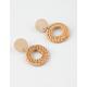 FULL TILT Wood & Straw Tan Earrings