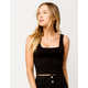 DESTINED Square Neck Black Womens Crop Tank Top