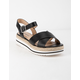 SODA Picnic Black & White Womens Espadrille Flatform Sandals