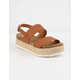 SODA 2 Strap Tan Womens Espadrille Flatform Sandals