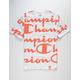 CHAMPION Allover Champion Script Coral & White Mens T-Shirt