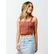 SKY AND SPARROW Asymmetric Button Front Rust Womens Cami