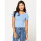 DESTINED Ribbed Lettuce Edge Periwinkle Womens Crop Tee