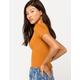 DESTINED Ribbed Lettuce Edge Rust Womens Crop Tee