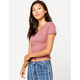 BOZZOLO Ribbed Lettuce Edge Mauve Womens Crop Tee
