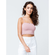 BOZZOLO Ribbed Square Neck Mauve Womens Crop Cami