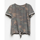 WHITE FAWN Camo Tie Front Girls Tee