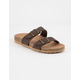 SODA Double Buckle Brown Womens Slide Sandals