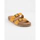 SODA Double Buckle Mustard Womens Slide Sandals