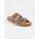SODA Double Buckle Taupe Womens Slide Sandals