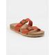 SODA Double Buckle Rust Womens Slide Sandals