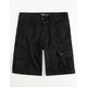 BROOKLYN CLOTH Black Mens Cargo Shorts