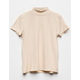 WHITE FAWN Solid Mock Neck Cream Girls Tee