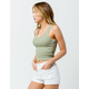 SKY AND SPARROW Stripe Racerback Olive Womens Crop Tank Top