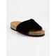 QUPID Faux Fur Cork Black Womens Slide Sandals