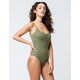 SKY AND SPARROW Ribbed Button Front Olive Bodysuit
