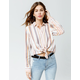 SKY AND SPARROW Stripe Tie Front Cream Womens Top