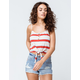 SKY AND SPARROW Stripe Tie Front Rust Womens Crop Tank Top