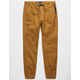 BROOKLYN CLOTH Twill Zip Side Pockets Tobacco Mens Jogger Pants