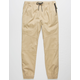 BROOKLYN CLOTH Twill Zip Side Pockets Khaki Mens Jogger Pants