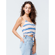 SKY AND SPARROW Stripe Tie Front Blue Womens Crop Tank Top