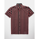 DRILL CLOTHING Vertical Stripe Red & Black Mens Shirt