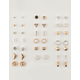 FULL TILT 20 Pairs Triangle Bar & Rhinestone Stud Earrings