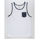 BLUE CROWN Solid White & Navy Mens Pocket Tank Top